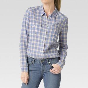 Paige Mya blue & white plaid button down shirt